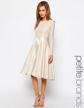 Enlarge True Decadence Petite Lace Bodice Midi Prom Dress ...