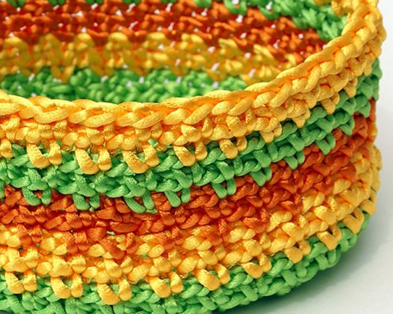 Crochet Basket  in Green Yellow and Orange by lissabeecreations,
