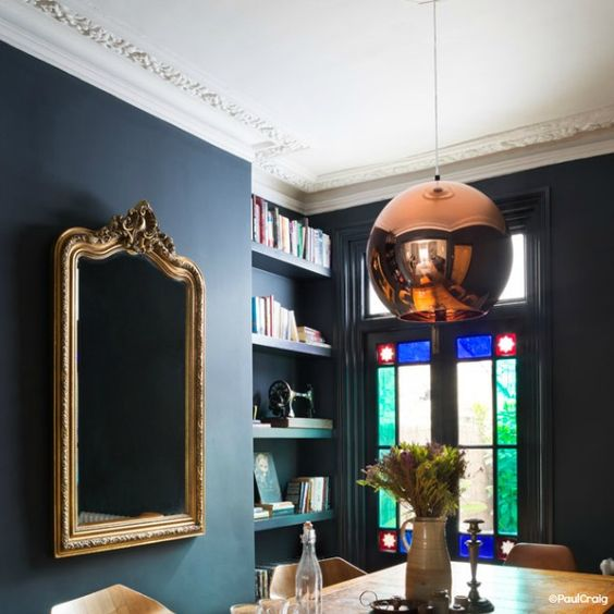 #Herald Leaded lights offer rich jewel tones to the scheme with strong metallics. Image from Heart Home Mag