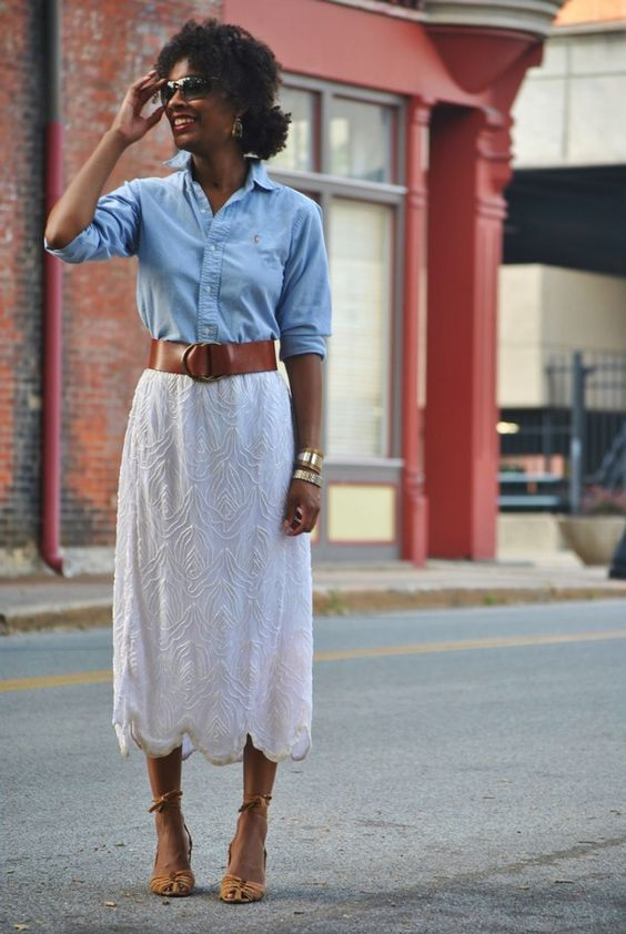 beaded white skirt