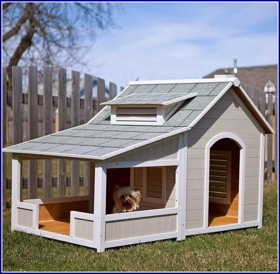 Dog houses for multiple dogs extra large dog houses two for Large dog house with porch