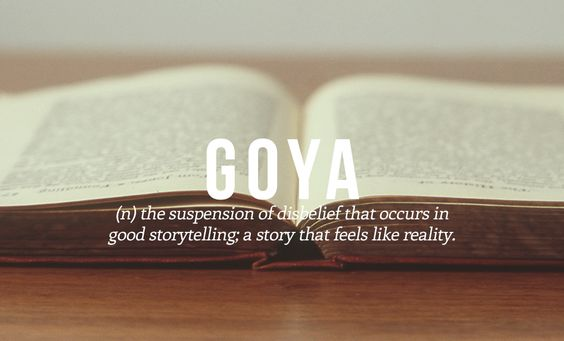 Goya: the suspension of disbelief that occurs in good storytelling; a story that feels like reality. (Urdu —Pakistan)