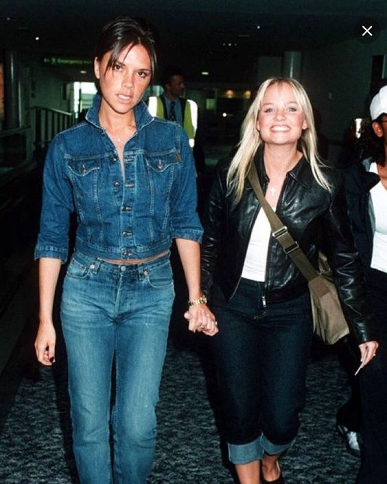 Victoria Beckham shares a throwback photo with Baby Spice, rocking a Canadian tuxedo!