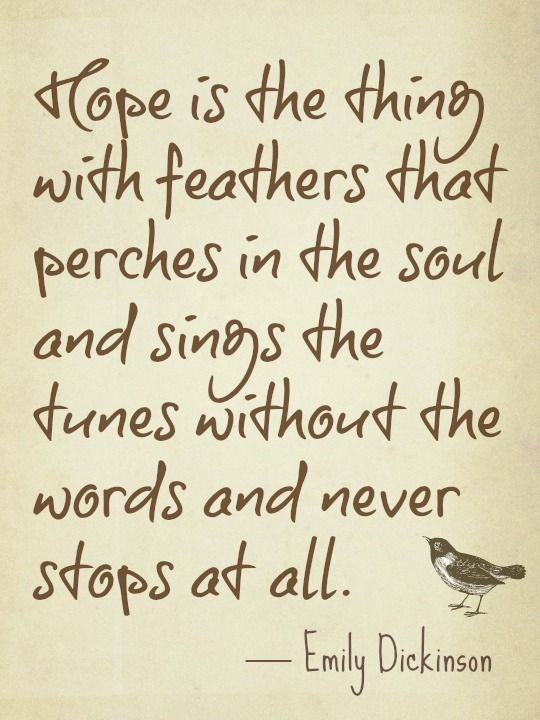 "One of my favorite poems :)    ""Hope"" is the thing with feathers—  That perches in the soul—  And sings the tune without the words—  And never stops—at all—    And sweetest—in the Gale—is heard—  And sore must be the storm—  That could abash the little Bird  That kept so many warm—    I've heard it in the chillest land—  And on the strangest Sea—  Yet, never, in Extremity,  It asked a crumb—of Me.:"