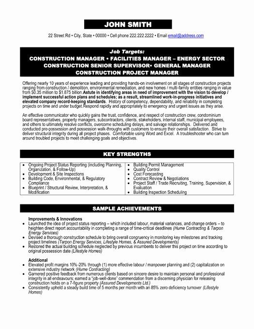 Construction Project Manager Resume Elegant Construction Environment Remediation Resume Sample Template