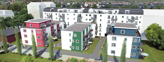 Das Ensemble des Grünauer Grün vereint einen Riegelbau zur Straße hin und drei Gartenhäuser zum parkähnlichen #Garten hinaus. --> www.gruenauergruen.com #living