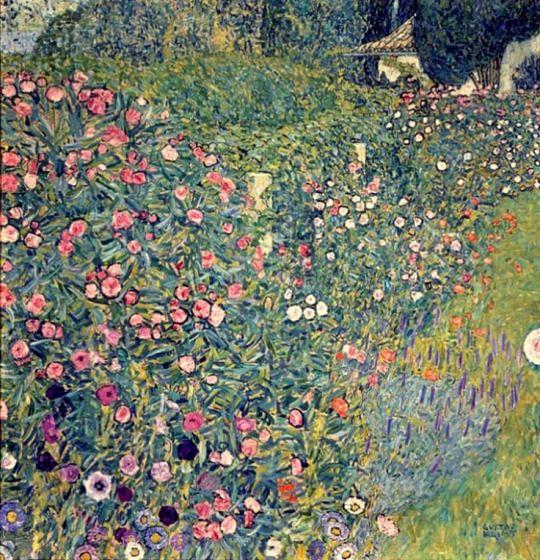 ❀ Blooming Brushwork ❀ - garden and still life flower paintings - Gustav Klimt | Italian Garden Landscape, 1913
