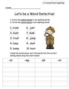 spelling word detective (1.6 Animal Park). Ending blends worksheet ...