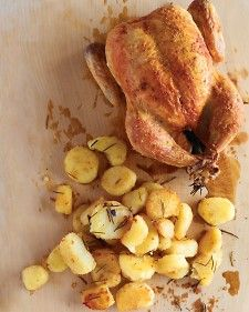 Kick up the classic combination of chicken, rosemary, and potatoes ever so slightly. The bird is rubbed with butter, salt, and -- the secret ingredient -- cornstarch. It's the key to the crunchy-crisp goodness of the skin. The potatoes, tossed with olive oil, develop a pale-golden crust while staying delectably tender within.