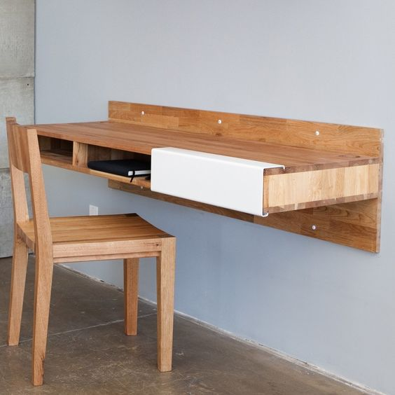 Amazing Custom Diy Wood Wall Mounted Floating Computer Desk With Storage Ideas Along Drawer Attached On Light Blue Wall Paint Color Also Wooden Chair Backrest On Grey Floor With Mobile Computer Desk Plus Hanging Desk Shelf of Alluring Design For Floating Computer Desk from Furniture Ideas