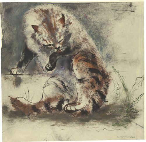 Josef Hegenbarth (German, 1884 - 1962)   Cat (Katze), 1940-1942