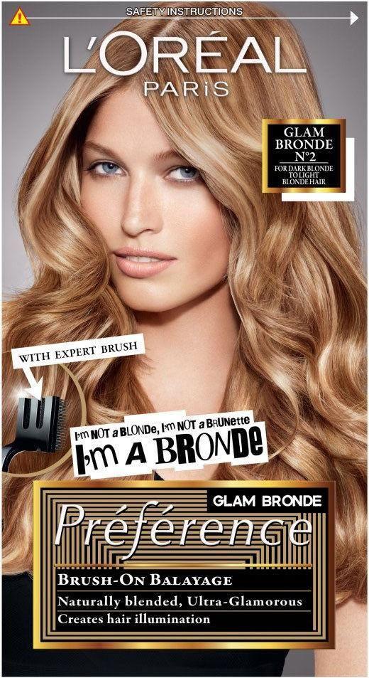 L Oreal Paris Preference Glam Bronde No2 Dark To Light Blonde What You Get 1 X Dye Kit Brush On Glam Highlights Help To Illuminat Loreal Bronde Loreal Paris
