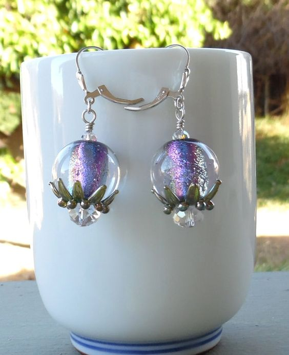 Swarovski Crystal and Lampwork Beaded Dichroic Dangle by Alliaks