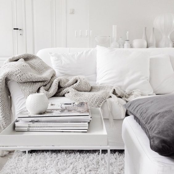 White and light grey living room. Photo by Malin N, via vittvittvitt on instagram