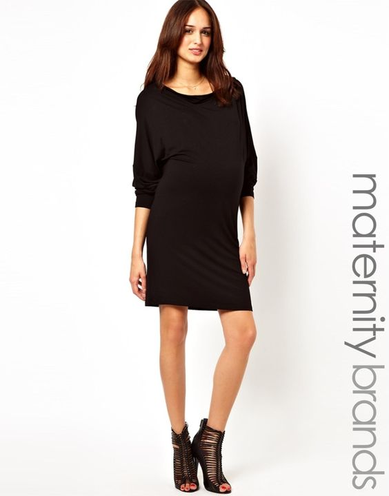 Black Maternity Dress from ASOS - love the look! #maternity: Clothing Maternity, Black Maternity Dresses, Dresses Pregnanista, Clothes Asos, Maternity Monday, Chic Maternity, Bump Style, Maternity Styles