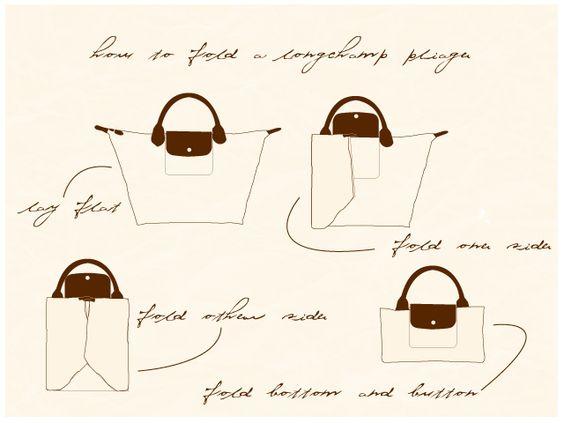 Longchamp Fold Le Pliage Tote Tasche Schwarz