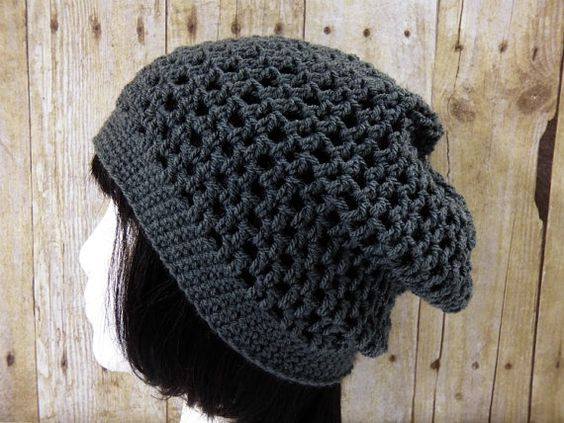 Grey Gray Mesh Slouch  Crochet Slouchy Beanie  by YarnOverDesign