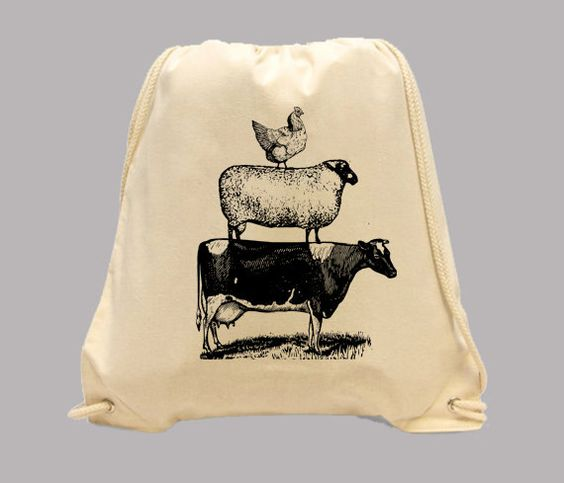 Vintage Farm Animals Stack Illustration Simple Canvas BACKPACK -- Image in ANY COLOR by Whimsybags on Etsy