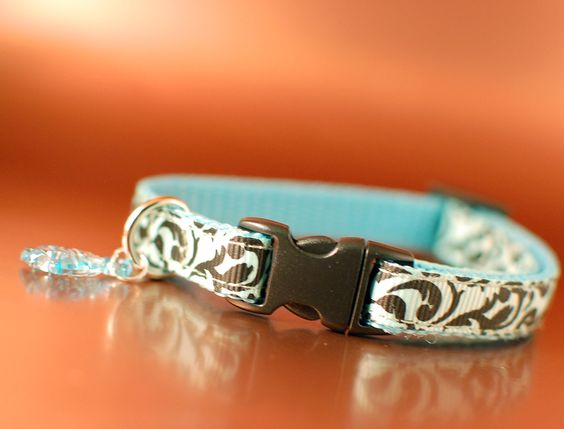 Damask Cat Collar - Turquoise Breakaway Safety Collar