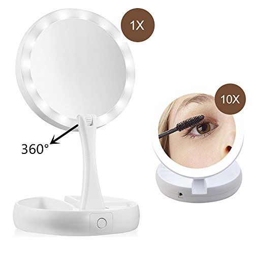 Led Makeup Mirror 360 Adjustable Stand With Storage Box 10x Magnifying Mirror Led Makeup Mirror Magnifying Mirror Mirror