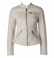 mandarin collar faux leather jacket with quilted styling, inner body knit inserts and angled zip pockets 100% polyurethane with 100% viscose and 100% polyester lining, clean with damp cloth