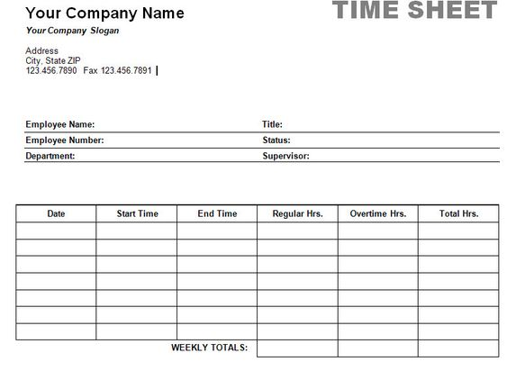 Free Printable Timesheet Templates – Free Timesheet Form