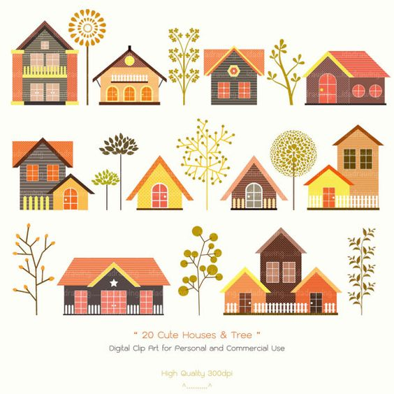 20 Cute Houses & Trees Digital Clip Art  Houses by idadrawing, $3.50