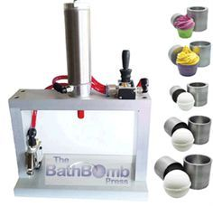 Bath Bomb Maker with with 5 Molds. With the automatic Bath Bomb Press, you will be able to increase your productivity and lower your manual costs and of course, reduce your manual labor! You will be able to produce uniform, rock hard bath bombs every time.