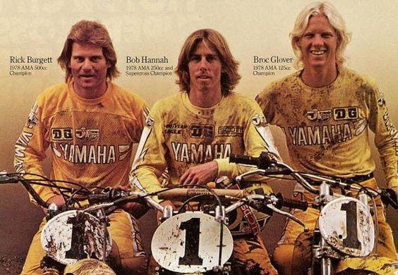 Vintage Yamaha Motocross Champions. Bob Hannah, Broc Glover & Rick Burgett. 125cc, 250cc & 500cc AMA Motorcycle Champions #1 Plates!
