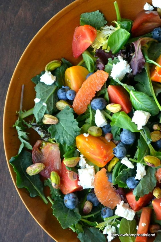 Super Salad with a Wonderful Blood Orange Dressing. Yum, blueberries ...