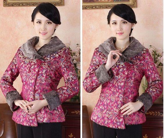Red Chinese Women'S Winter Cotton Jacket Coat Sz: 8 10 12 14 16 18