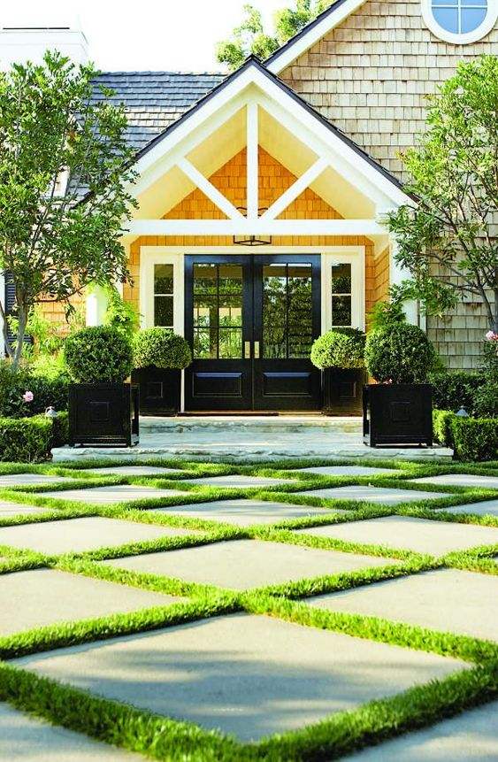 planters and synthetic grass