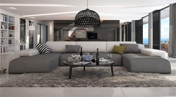 Grand canapé d'angle moderne SERLAS XL V2