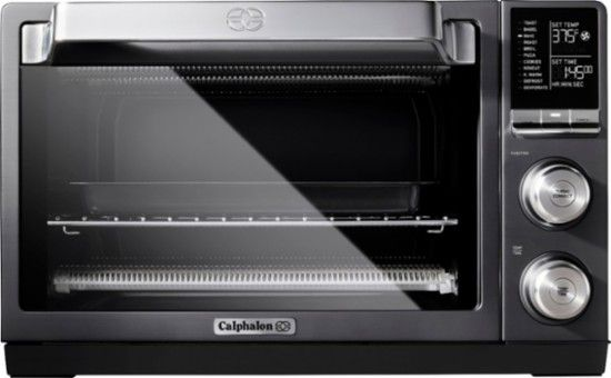 Calphalon Quartz Heat Convection Toaster Pizza Oven Dark Stainless Steel Front Zoom Countertop Oven Countertop Convection Oven Toaster Oven