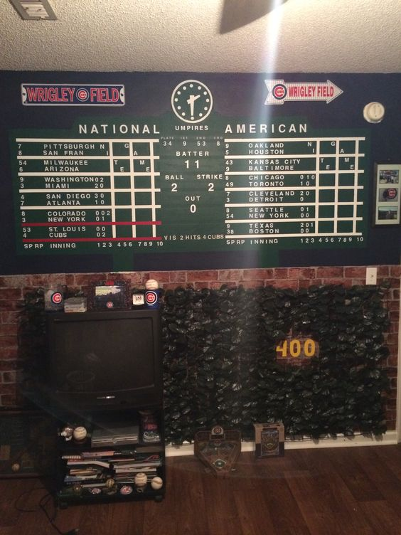 Wrigley field to look and fields on pinterest for Baseball scoreboard wall mural