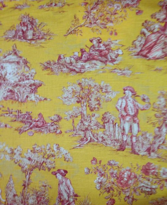 Yellow Pink and White Toile  Toile   Fabric By by ShopMyFabrics