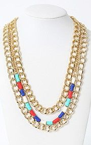 Colorful Layered Chain Necklace