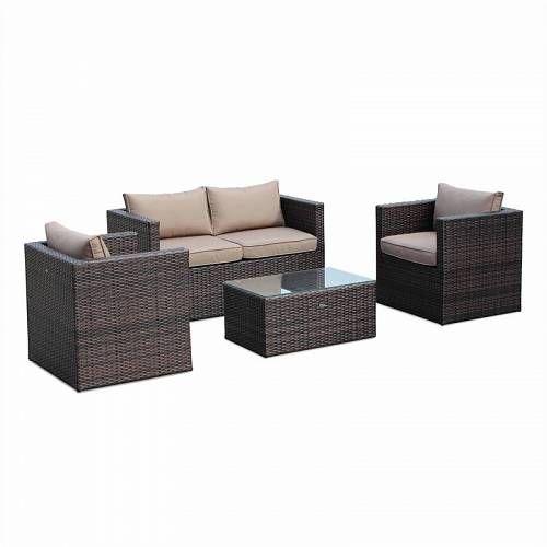 Alice 39 S Garden Anzio 4 Seater Rattan Garden Sofa Set