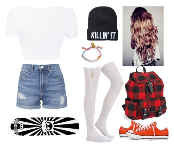 """skateboarding"" by directionerdswiftie13 ❤ liked on Polyvore featuring Topshop, Converse, Aéropostale, INC International Concepts and Venessa Arizaga"