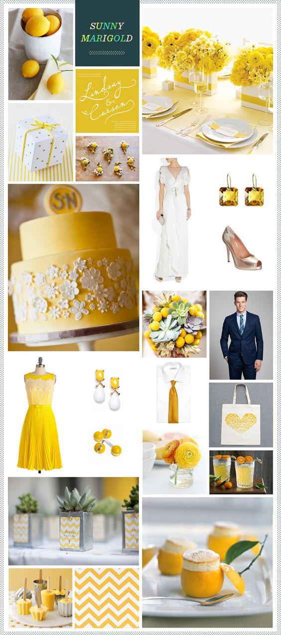 Sunny Marigold wedding inspiration via REVEL