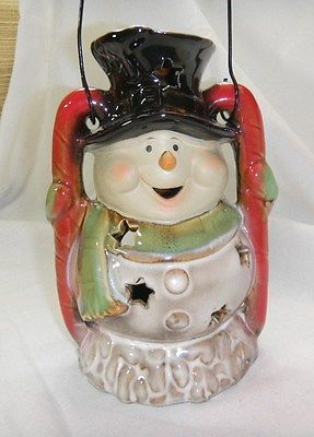 Winter-Snowman-Tealight-Candle-Holder-Top-Hat-Scarf-Star-CutOuts-Ceramic-Pottery