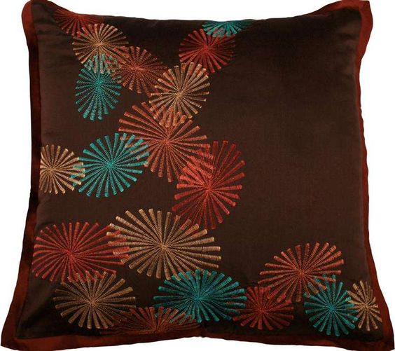 Throw Pillow Color Combinations : Brown Decorative Throw Pillow With Colorful Pinwheels T-2669 $42.00 Decorative Pillows ...