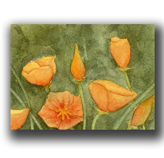 watercolor ACEO flowers original California by WatercolorsorElse, $12.00