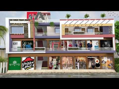 Modern 3 Storey House Front Elevation Designs Commercial Residential Building 3d View Youtube House Outer Design Building Design Building Facade