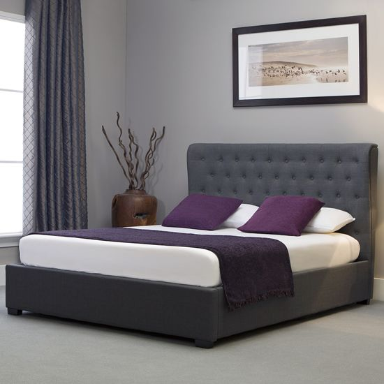 Kensington Grey Ottoman Bed Deeply Oned Fabric Bedframe King Storage