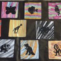 animaux noirs sur fond  texture