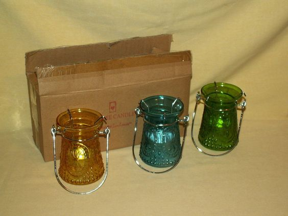 YANKEE CANDLE SET FRENCH GLASS GREEN BLUE YELLOW NEW 2013 1278941 HANGING VOTIVE #YankeeCandle