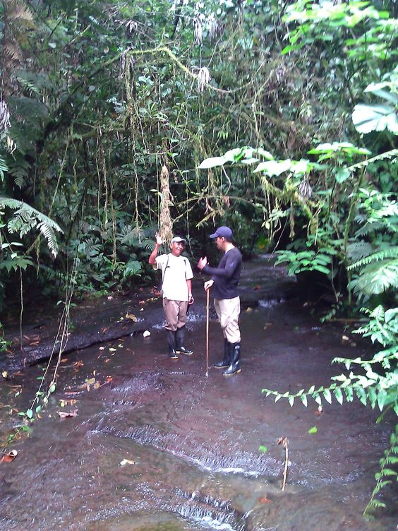 Two men speaking in the middle of the rainforest of Ecuador
