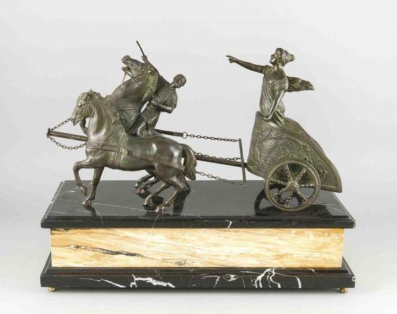 Anonymer Bildhauer um 1900/20, repräsentative Bronze der Siegesgötting Nike auf…