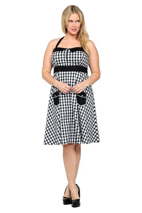 Retro Chic By Torrid - Gingham Poplin Halter Dress | Dresses